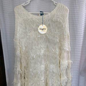 🆕 Cream fringy sweater.  Small.